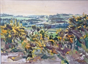 <h5>Looking Toward Plovan</h5><p>O:L 25-1/2 x 32 1979																																																																																																																																								</p>