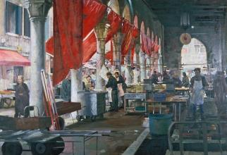 <h5>Market in Venice</h5><p>O:L 50 x 71 1992</p>