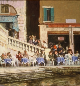 <h5>Café by the Rialto</h5><p>O:L 34 x 36 1992																																																																																																																																																																																											</p>