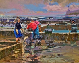 <h5>Oyster Gatherers at Cancale</h5><p>O:L 24 x 32 1971																																																																																																																							</p>