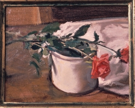 <h5>Two Roses in a Crockery Vase</h5><p>O:L 10 x 14 1971 																	</p>