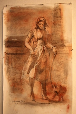 "<h5>The Lady with the Dog (Sketch) </h5><p>Tri-Color sketch 36"" x 24""</p>"