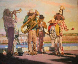 "<h5>'Harbour Music' or 'The Children's TITI Circus Band Playing at the Harbor of Douarnenez in Brittany'</h5><p>Price Upon Request Oil on Linen  38"" x 47""																	</p>"