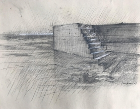 <h5>Adriatic Tide #2</h5><p>Charcoal heightened with white on toned paper 20 x 28 1983																	</p>