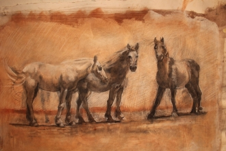 "<h5>Three Carmargue Ponies</h5><p>Tri Color Drawing on prepared Archival paper  14"" X 27""</p>"
