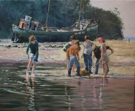 "<h5>Digging by the Derelict Trawler</h5><p>Oil on Linen 30"" x 36""</p>"